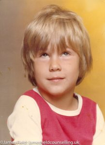 Portrait of James Field Counsellor in Exeter as a young boy lost in his own world