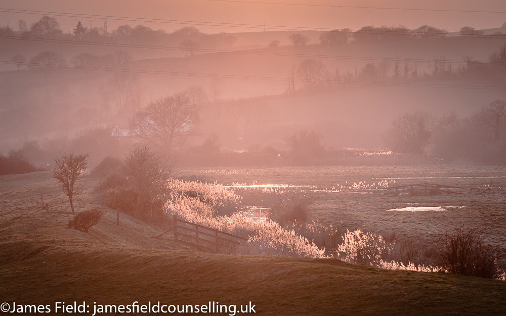 Photo of sunset over Exminster Marshes, Exeter to end James Field's Counselling Philosophy piece.